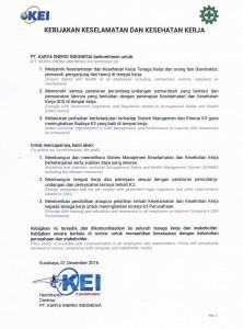 Kebijakan K3 PT. KEI Rev.01